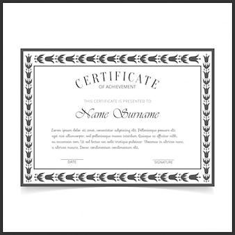 Elegante black and white retro certificate