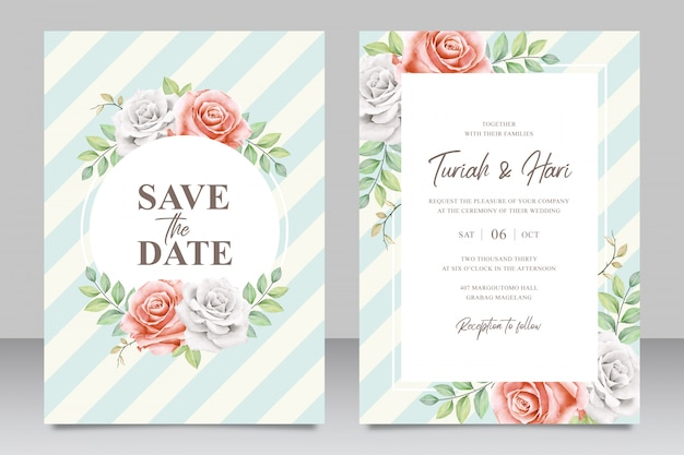 Elegantl wedding invitation card template with stripes