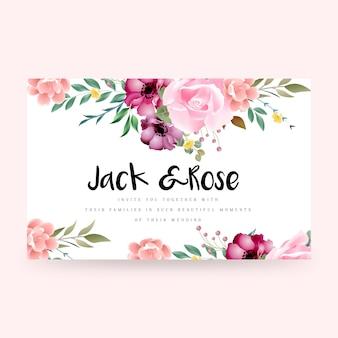 Элегантно оформленный красивый цветочный дизайн свадебной открытки
