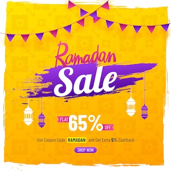 Elegent sale poster or banner design for ramadan sale with hanging lamps, and 65% off offe