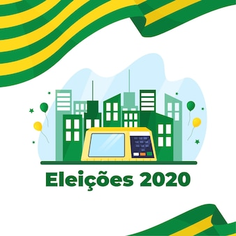 Eleições for bazil illustration with flag and buildings