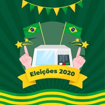 Eleições для иллюстрации bazil с флагами и гирляндой