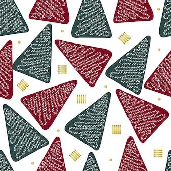 光沢のあるelelmentパターンの背景と緑と赤の松のシームレスなクリスマスシーズン