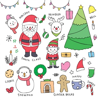 Element cartoon cute christmas vector.