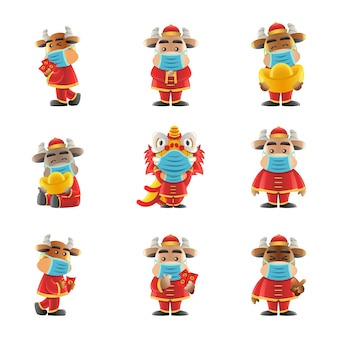 Element of chinese new year cute of cartoon design wearing masks