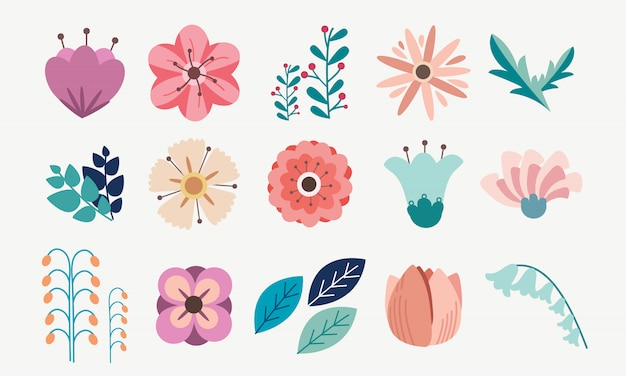 Element of floral flower pack set