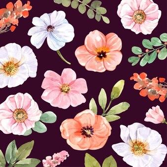 수채화 요소 꽃