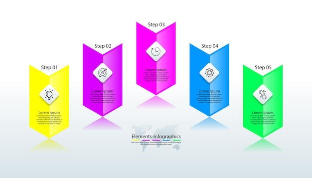 5つのステップでカラフルな要素のインフォグラフィック
