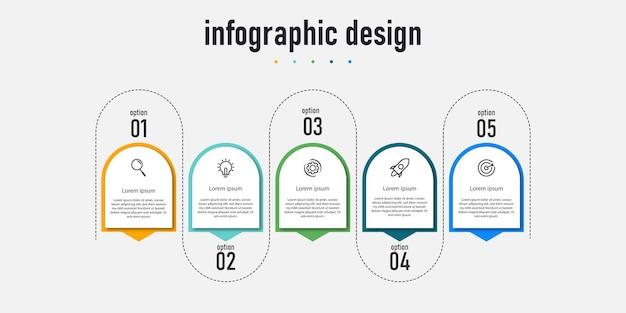 5つのステップオプションを備えた要素インフォグラフィックデザインテンプレートタイムラインをワークフローに使用できます