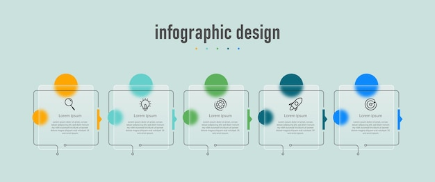 Element infographic design template timeline with 5 steps options can be used for workflow