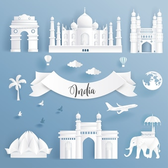 Element set of world famous landmarks of india.