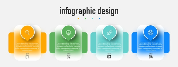 Element steps timeline infographics design transparent glass effect template with 4 option template