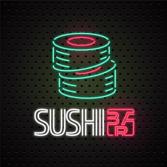 Element for sushi, sushi delivery service with neon lights sign