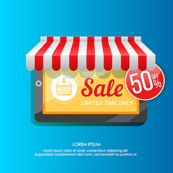 Element of tablet promoting special sale