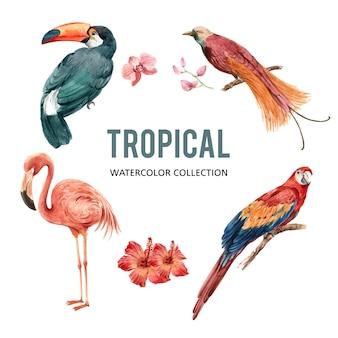 Элемент акварель дизайн с птицей иллюстрации для декоративного использования.