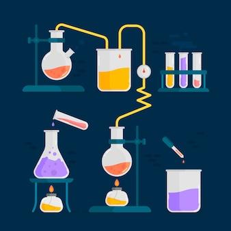 Oggetti elementari per laboratorio di scienze di chimica