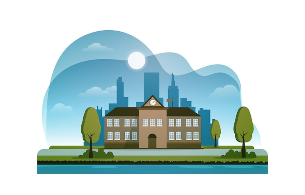 小学校の建物の研究教育のベクトル図