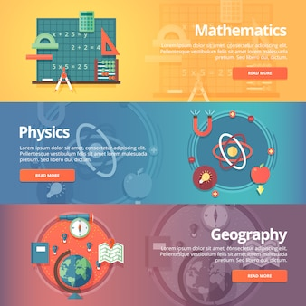 Elementary mathematics. basic math. physics subject. geography science. school subjects. education and science banners set.   concept.