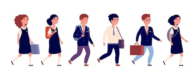 小学生。漫画の就学前の子供、さまざまな生徒をグループ化します。バッグのバックパックのベクトル図と歩くフラット幸せな子供たち。小学生は教育に行きます
