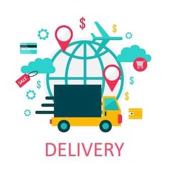 Illustrazione di consegna di e-commerce