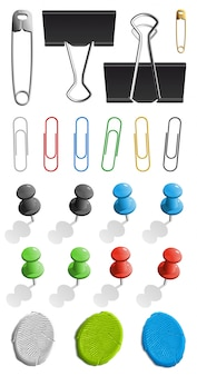Elements for attaching paper. pin, plasticine and paperclip set.  illustration  on white background.