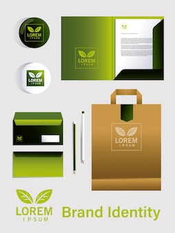 Elements of brand identity in companies illustration design