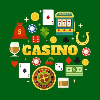 Elements of casino flat  elements set