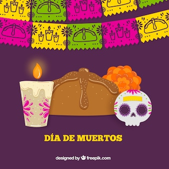 Elements of celebration of the day of the dead background