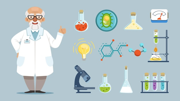 Elements of chemical laboratory, equipment, and chemist
