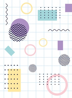 Elements composition geometric memphis 80s 90s style abstract grid