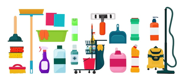 家を掃除するための要素、機器、洗剤。ベクター