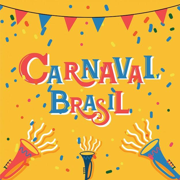 ブラジルのカラフルなパーティーelements.eventとカーニバルブラジルのお祝いの背景