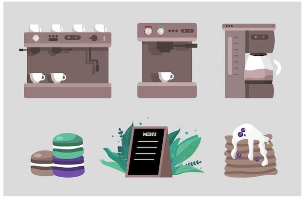 Элементы для кофейни - это набор различных кофемашин и миндальных печений и блинов.