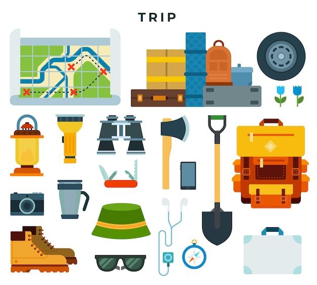 旅行のバックパックの要素
