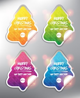 ホリデーカードの要素メリークリスマスと新年あけましておめでとうございますカード