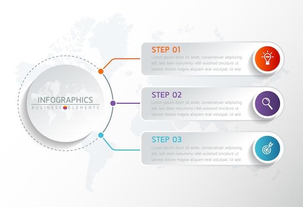 인포 그래픽 요소. 프레젠테이션 및 차트. 단계 또는 프로세스. 옵션 번호 워크 플로 템플릿. 3 단계.