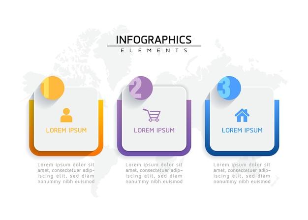 インフォグラフィックの要素。プレゼンテーションとチャート。ステップまたはプロセス。オプション番号ワークフローテンプレートデザイン。 3つのステップ。