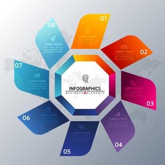 Элементы для инфографики. презентация и диаграмма. шаги или процессы. номер шаблона рабочего процесса. шаги.