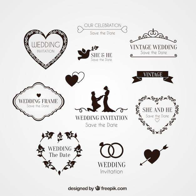 結婚式の招待状のための要素