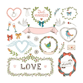 結婚式の招待状の要素。フレーム、花輪、結婚式のシンボル、愛と結婚したばかり