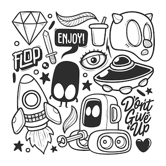 Elements hand drawn doodle vector