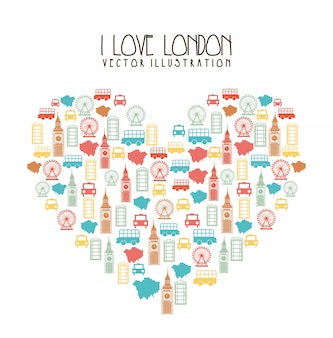 Elements heart shaped london over white background vector