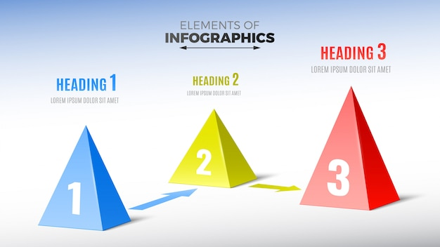 Elements of infographics in form of pyramids.