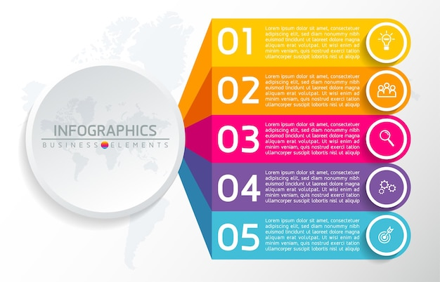 Elements for infographics. presentation and chart. steps or processes.  options number workflow template . 5 steps.