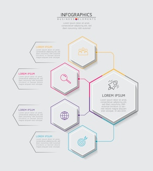 Elements for infographics. presentation and chart. steps or processes.  options number workflow template design.4 steps.