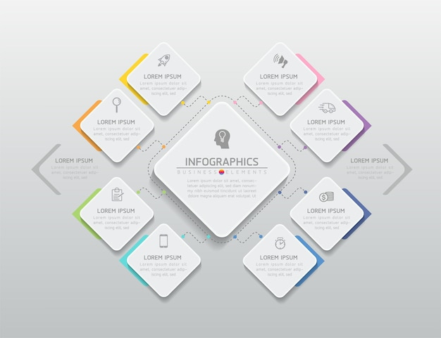 Elements for infographics presentation and chart steps or processes options number workflow template  steps