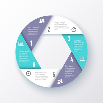 Elements for infographics. template for a pie chart of the six parts.
