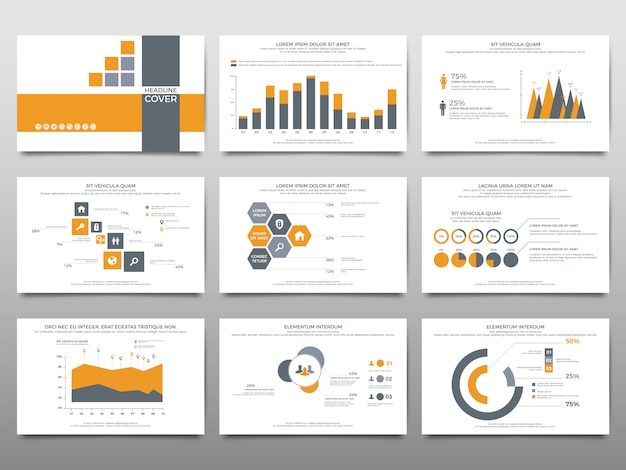 Elements for infographics on a white background. presentation templates.