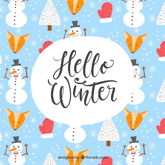 Elements lettering winter background