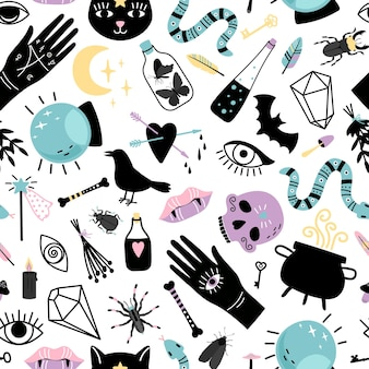 Elements for magician seamless pattern. hand drawn collections for witch, magic cauldron with potion, snake and crystal ball for wizard, vector illustration concept of black witchcr